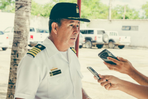 C.N. Javier Ayllon Vargas comandante do 5° Distro Naval da Armada Boliviana. Créditos: 2°Sgt. Bm. Paiva